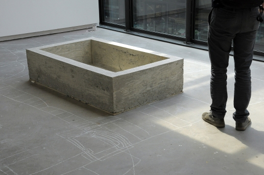 Object 2 (Pit) by Evelina Simkute, 2012 Concrete, wood, polystyrene 150 × 35 × 90 cm Replica of an object found on a council estate in Kaunas, Lithuania.
